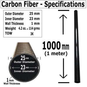 (4) Carbon Fiber Tubes - 25mm x 23mm x 1000mm - 3K Roll Wrapped 100% Carbon Fiber Tube Glossy Surface -(4) Tubess
