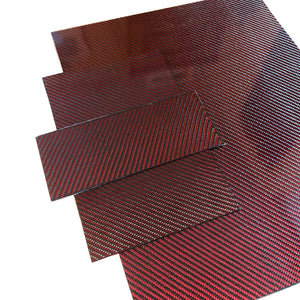 (4) Red Carbon Fiber Plate - 100mm x 250mm x 2mm Thick - 100% -3K Tow, Plain Weave -High Gloss Surface (2) Plates