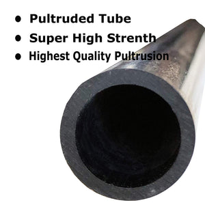 (1) Piece - 20mm x 16mm x 1000mm Carbon Fiber Tube - Pultruded Round Tube. Super High Strength for RC Hobbies, Drones, Special Projects