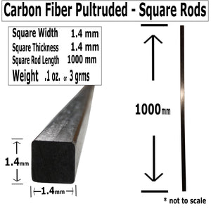 (4) 1.4 X 1000-PULTRUDED-Square Carbon Fiber Rods. 100% Pultruded high Strength Carbon Fiber. Used for Drones, Radio Controlled Vehicles. Projects requiring high Strength to Weight Components.