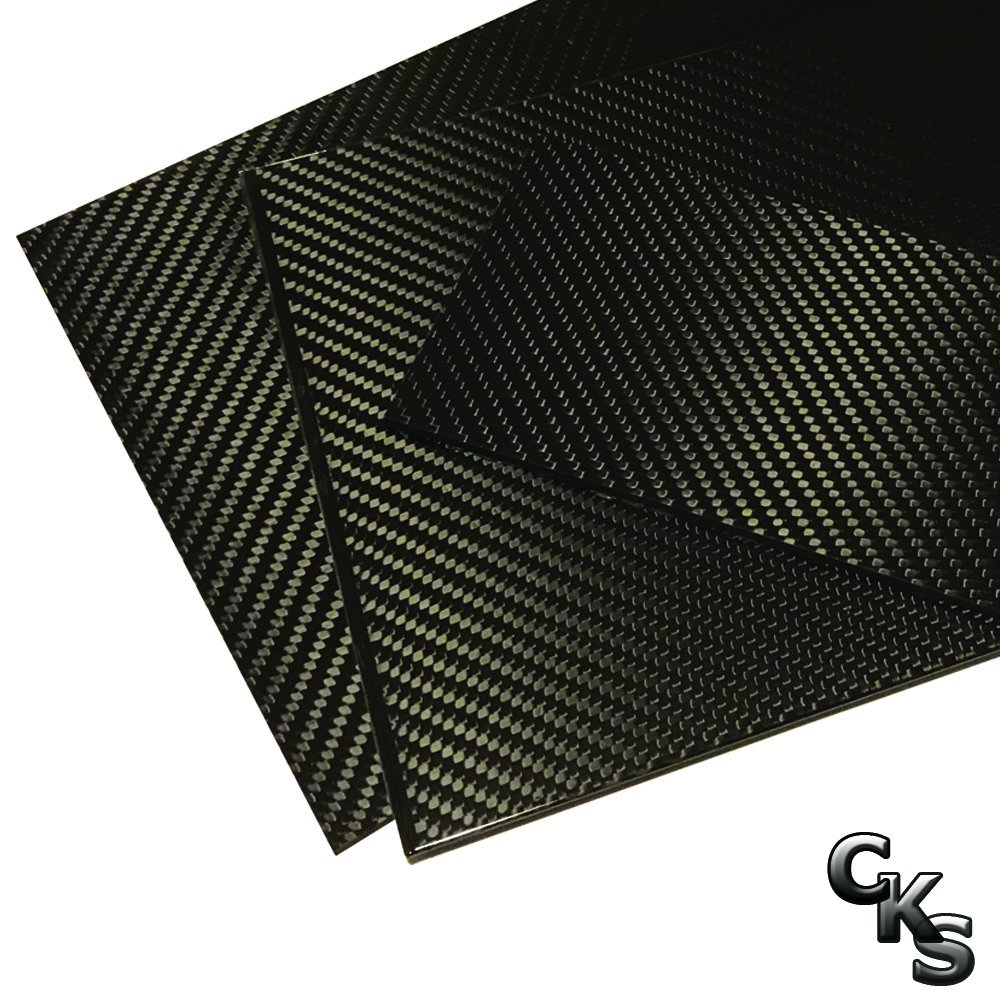 (2) Carbon Fiber Plates - 200mm x 300mm x 3mm Thick - 100% -3K Tow, Plain Weave -High Gloss Surface (1) Plates