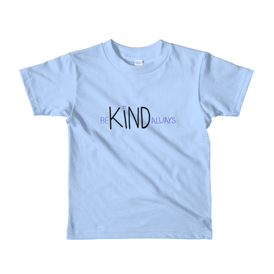child size baby blue t-shirt - be kind always lettering