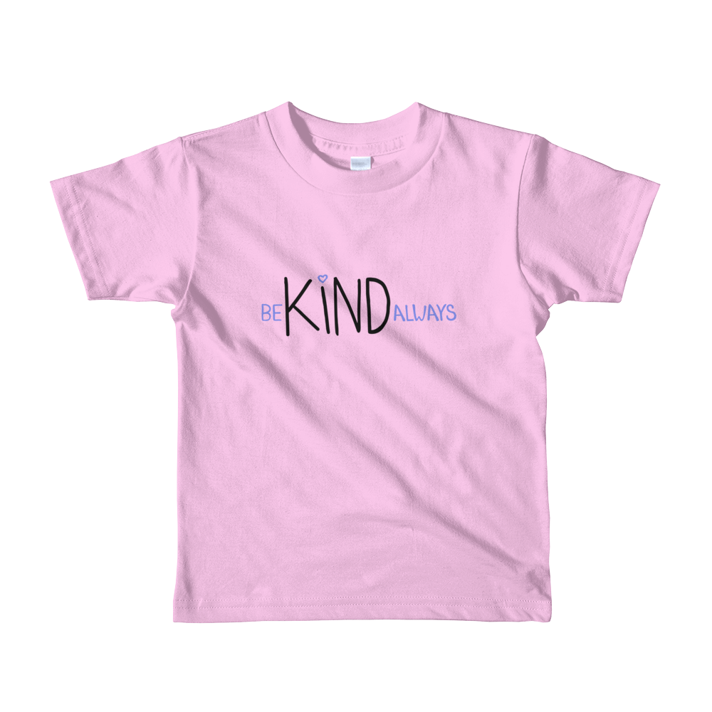 child size pink t-shirt - be kind always lettering