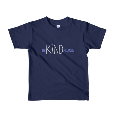 child size navy t-shirt - be kind always lettering