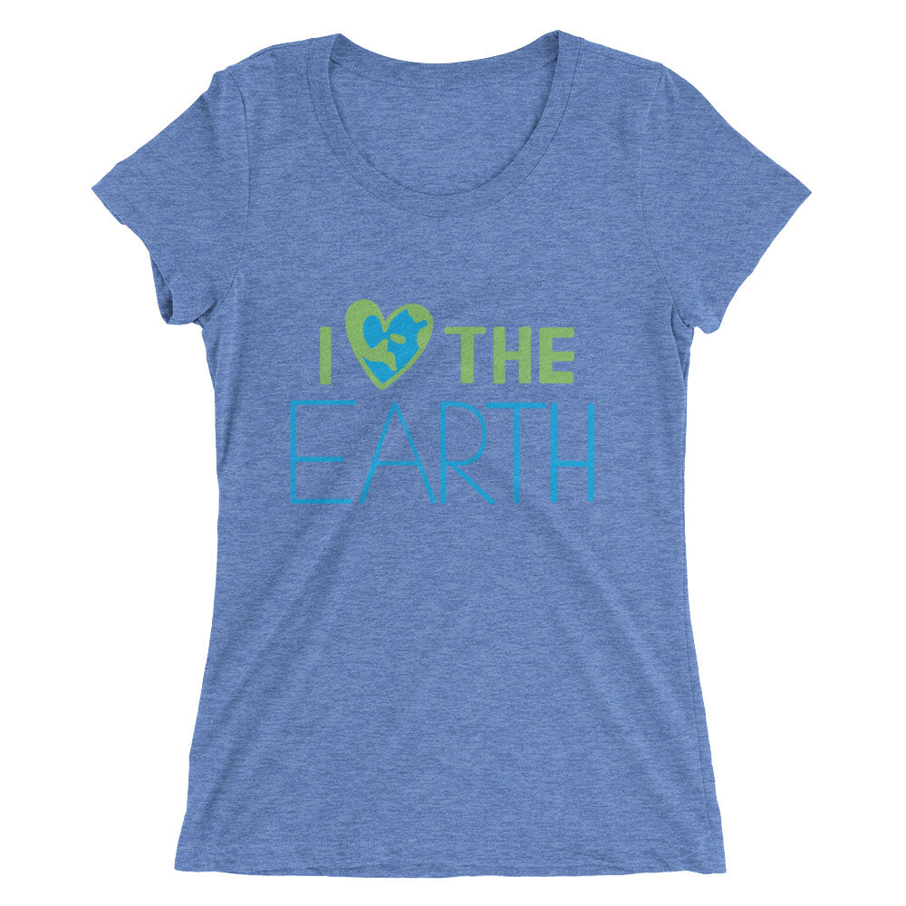 Women's blue triblend I ❤️the Earth lettering t-shirt - EIGHTO2 SHOP