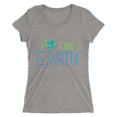 women's grey triblend t-shirt - I LOVE the earth lettering