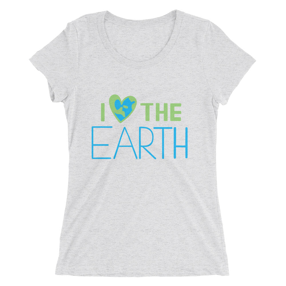 Women's white fleck I ❤️the Earth lettering triblend t-shirt - EIGHTO2 SHOP