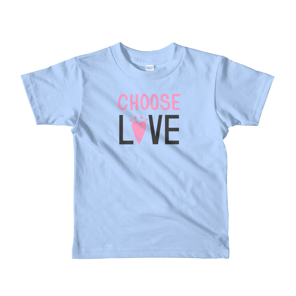 child size baby blue t-shirt - choose love lettering