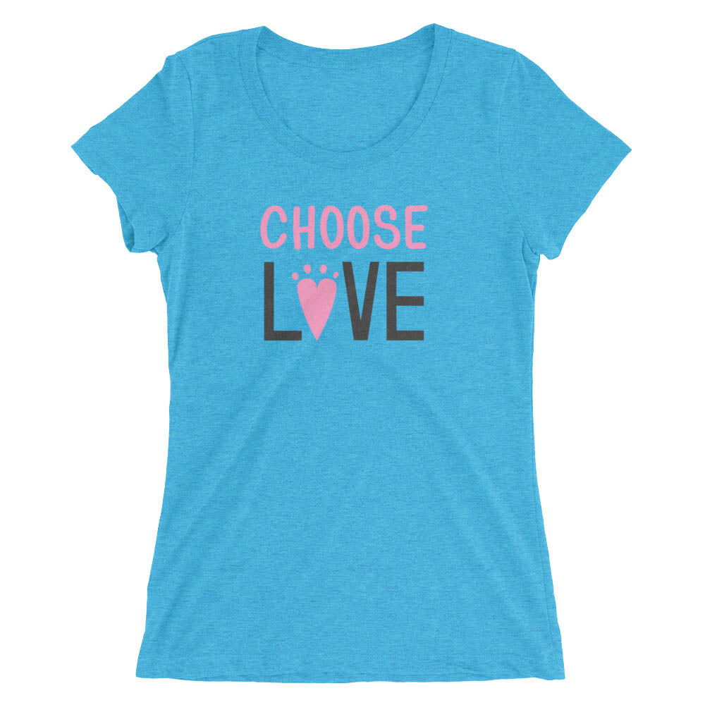Women's aqua triblend t-shirt-  Choose LOVE lettering - EIGHTO2 SHOP