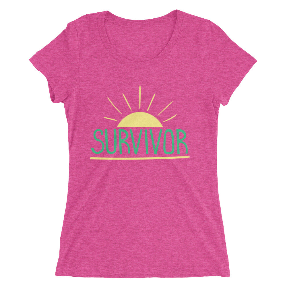 women's berry triblend t-shirt - Survivor lettering in green