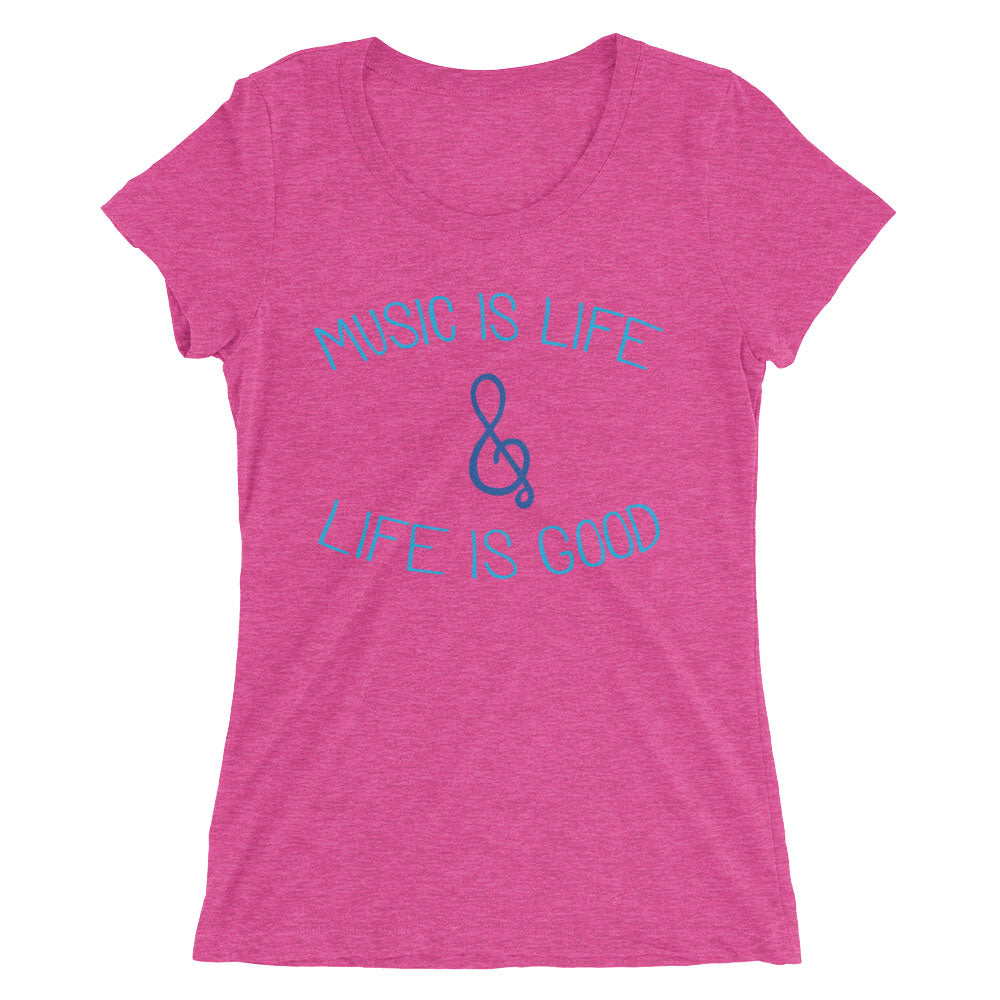 Women's berry triblend Music is Life and Life is Good t-shirt - EIGHTO2 SHOP