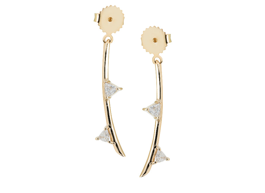 White diamond trillion leaves on 14k gold stem, earring backs, update your ear game with these perfect earrings, mix and match with your favorite Irini Full Bloom Flower studs