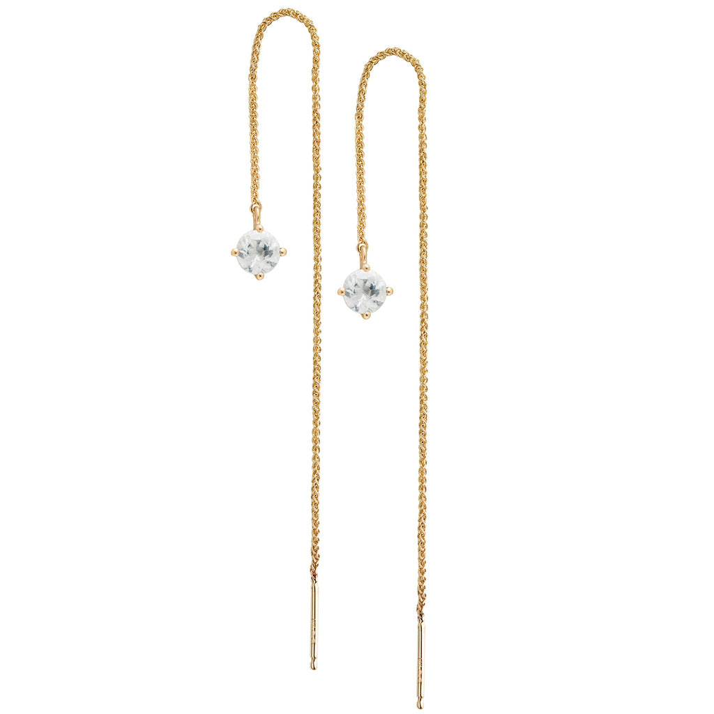 IRINI Gem Drop thread earring in 14k gold with a brilliant white sapphire gemstone, simple, delicate perfection