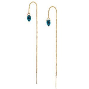 IRINI Gem Drop thread earring in 14k gold with pear shape London Blue Topaz gemstone, simple, delicate perfection