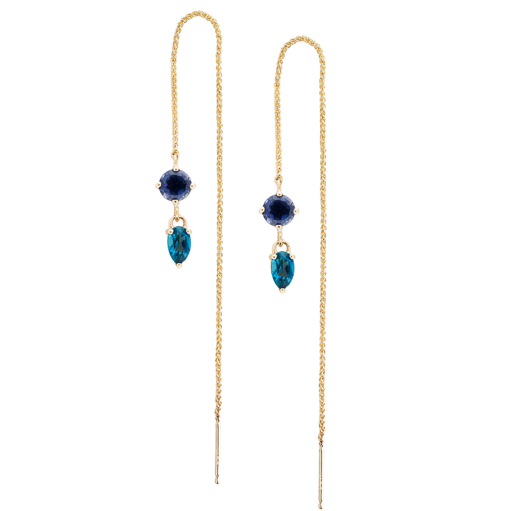 IRINI Gem Drop thread earring in 14k gold with a brilliant iolite and london blue topaz gemstone, simple, delicate perfection