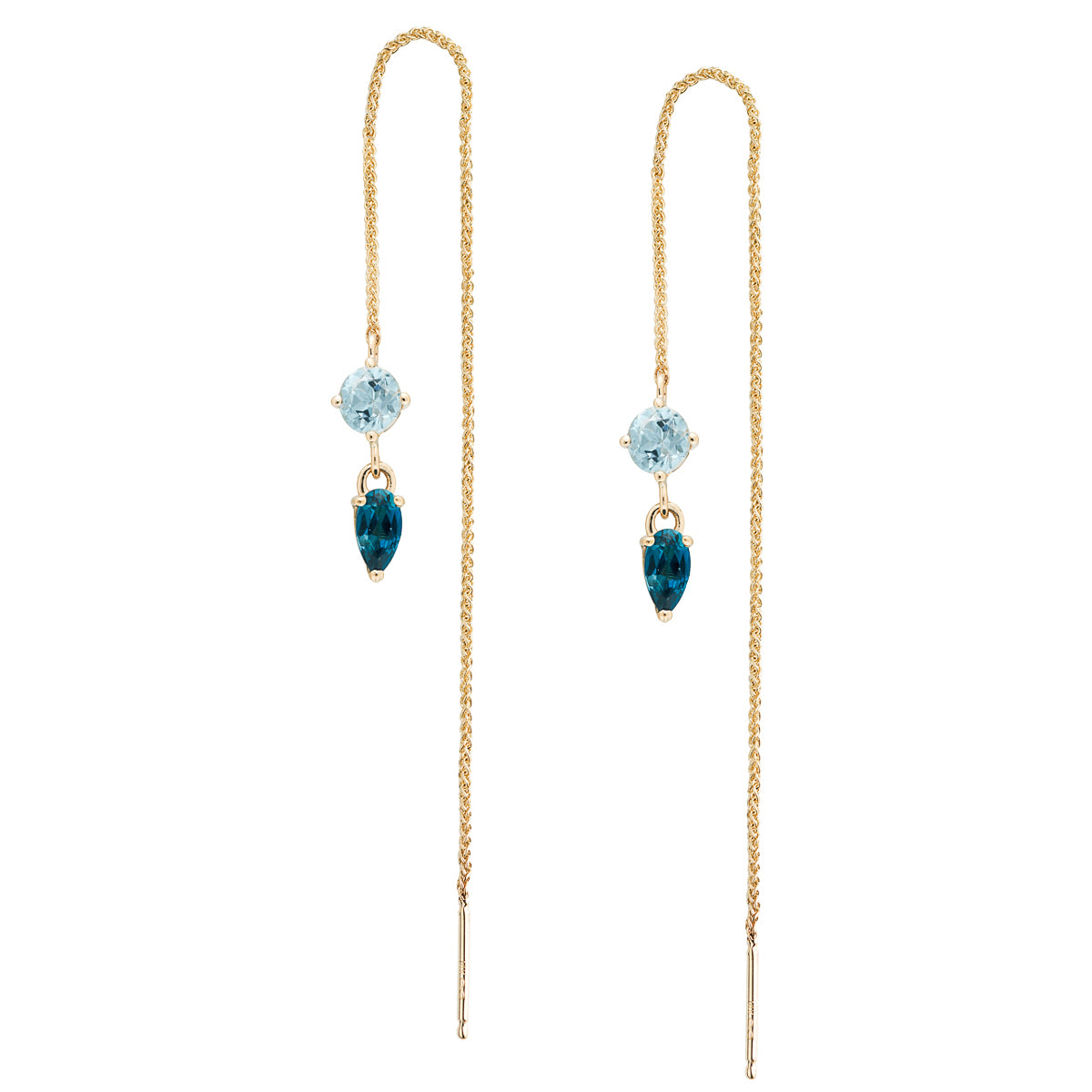 IRINI Gem Drop thread earring in 14k gold with a brilliant light blue topaz and london blue topaz gemstone, simple, delicate perfection