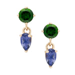 IRINI Gem Drop earring in 14k gold with chrome and iolite gemstone, simple, delicate perfection