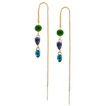 IRINI Gem Drop thread earring in 14k gold with a chrome, iolite and london blue topaz gemstone, simple, delicate perfection