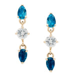 IRINI  Triple Gem Drop earring in 14k gold with blue topaz, white sapphire, and london blue topaz gemstone, simple, delicate perfection