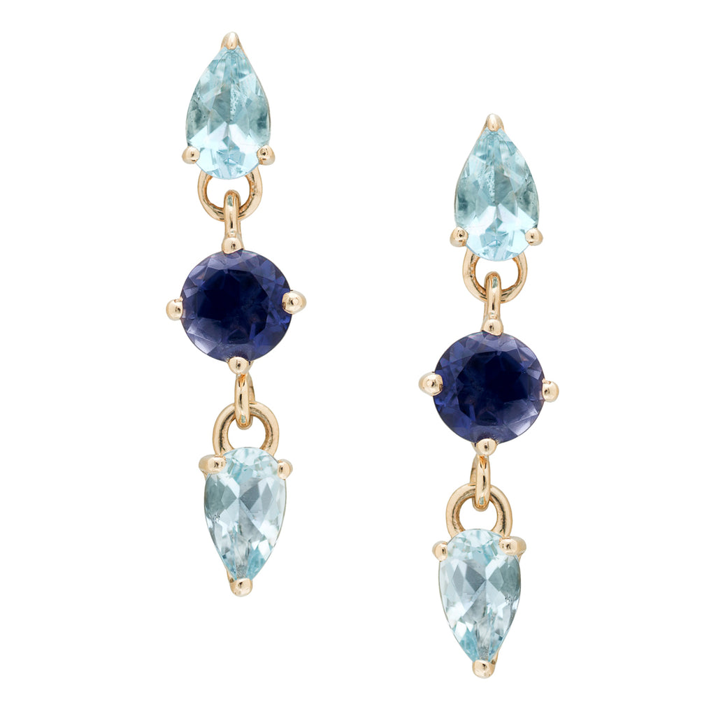 IRINI  Triple Gem Drop earring in 14k gold with iolite and light blue topaz gemstone, simple, delicate perfection
