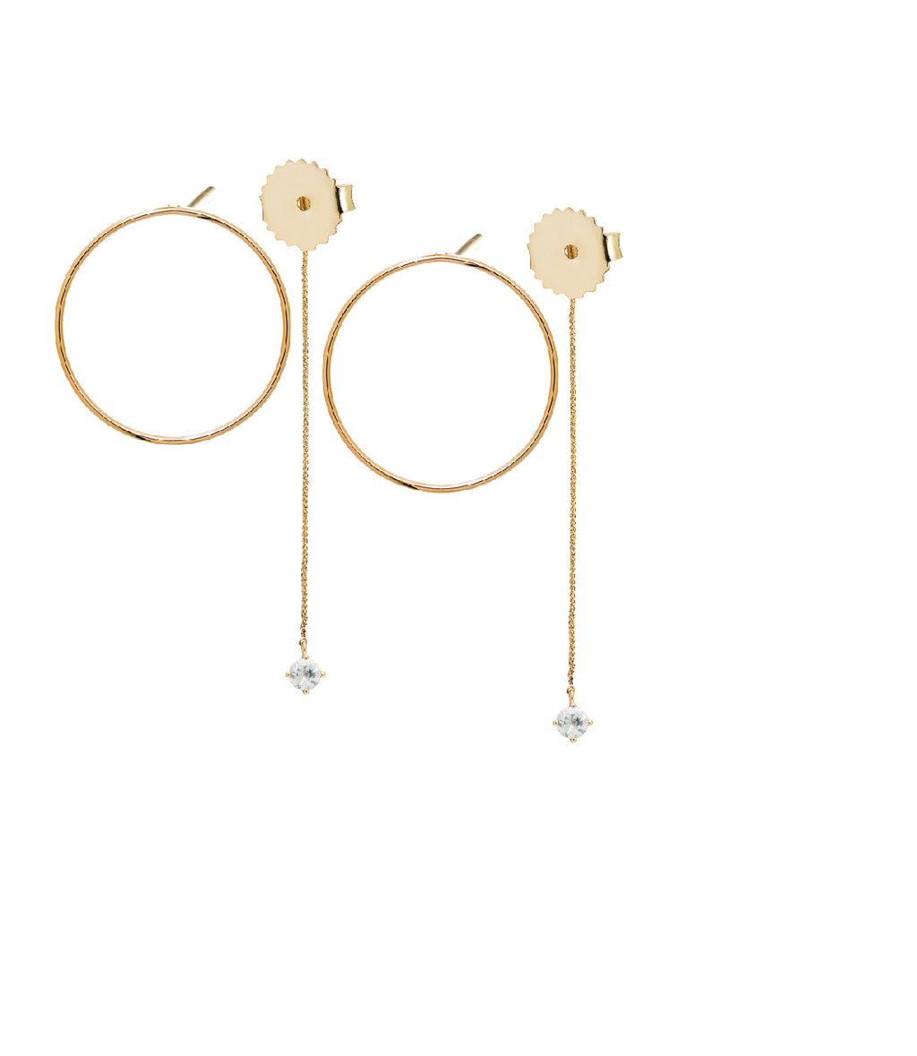 Irini Delicate 14k gold open hoop with post back, paired with gem drop ear back, white sapphire stone