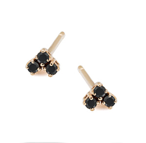 Mini black diamond trio stud earrings, post back,14k gold, ideal for multi piercing or update to the classic stud. made in nyc