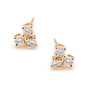 White diamond trio stud earrings, post back,14k gold, ideal for multi piercing or update to the classic stud. made in nyc