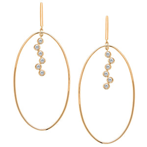 Irini Nude Bouquet 14k gold hoop earring, editorial , with white sapphire , new classic, gold hoop