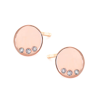 MINI 14k gold disc earring with three white diamond details, post back.  Perfect as your new go to pair for every day , ideal for multiple piercings, made in nyc, available in rose gold, yellow gold, white gold