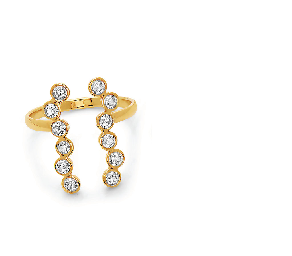 2 beautiful rows of 12 bright white sapphires set in 14k gold, this ring hugs the finger in the most beautiful way, made in nyc, will be your ideal go to piece of jewelry