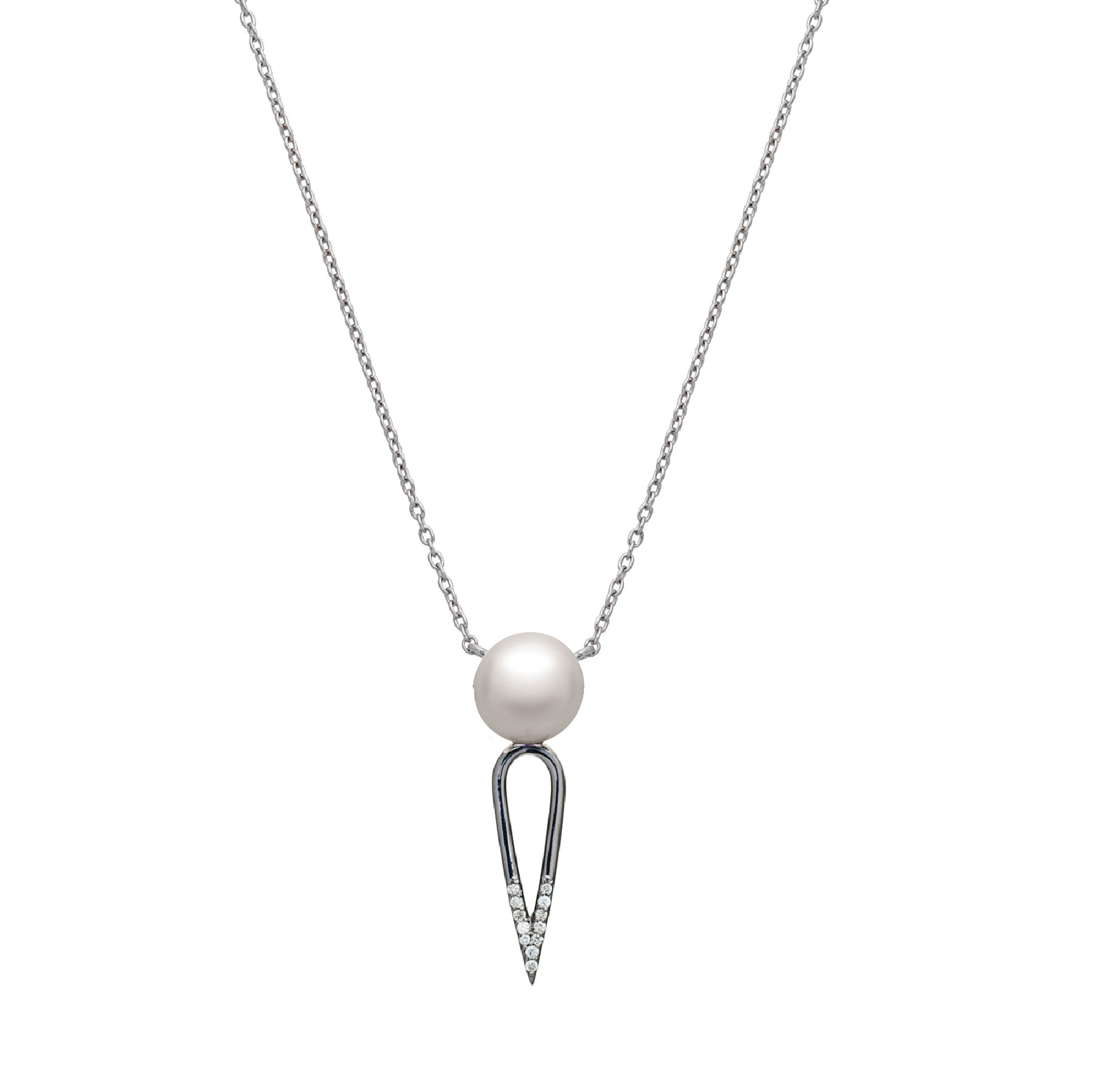 IRINI SOLO PEARL  ON BLACK RHODIUM PLATED DIAMOND DIPPED DAGGER, STERLING SILVER  NECKLACE , CLASSIC AND  EDGY