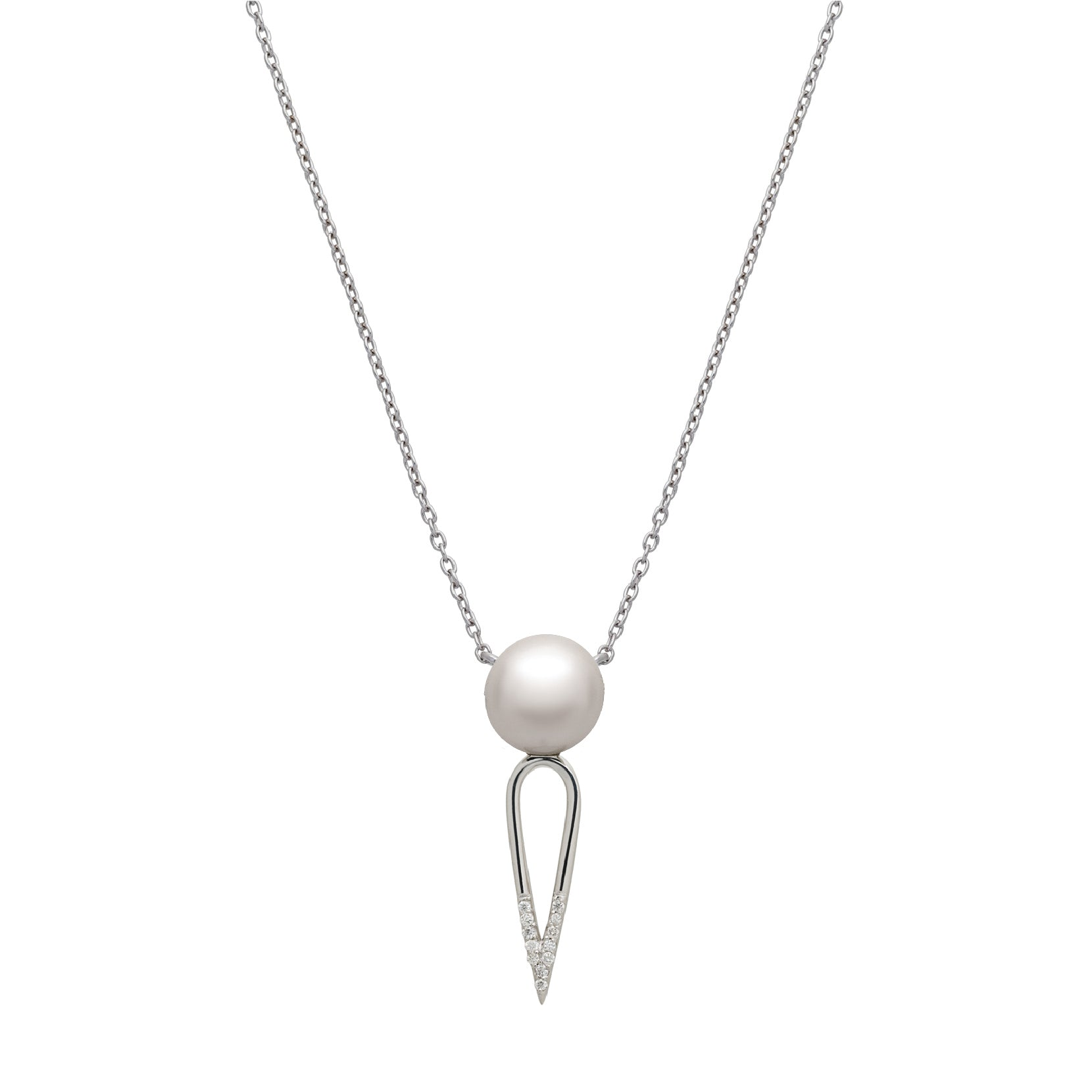IRINI SOLO PEARL DIAMOND DIPPED DAGGER, STERLING SILVER  NECKLACE , CLASSIC AND  EDGY