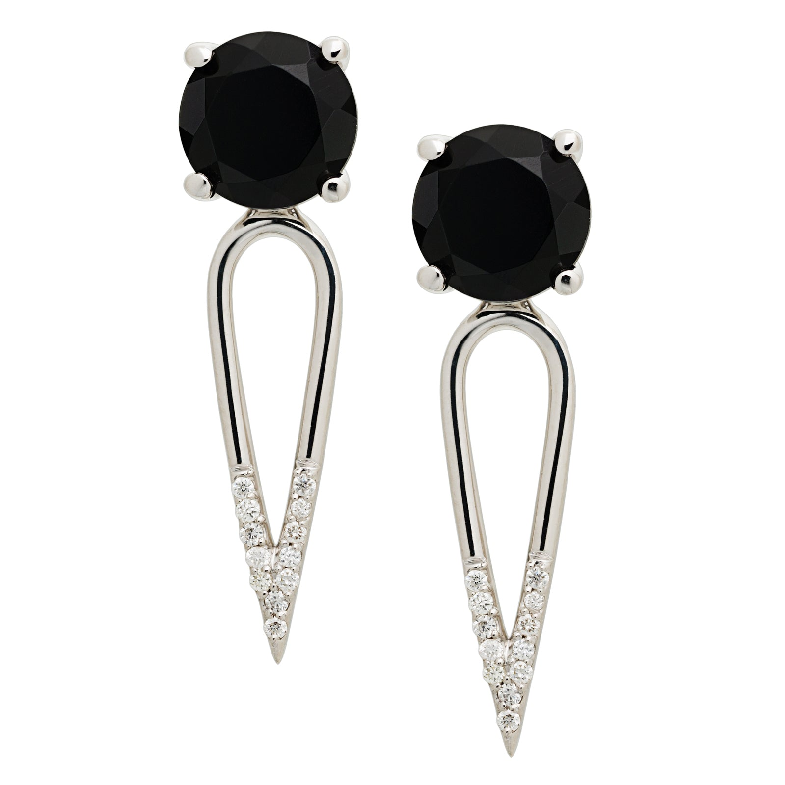 Irini Black Onyx gem stone diamond dipped dagger, sterling silver earrings are edgy yet elegant and the perfect gift, made in nyc