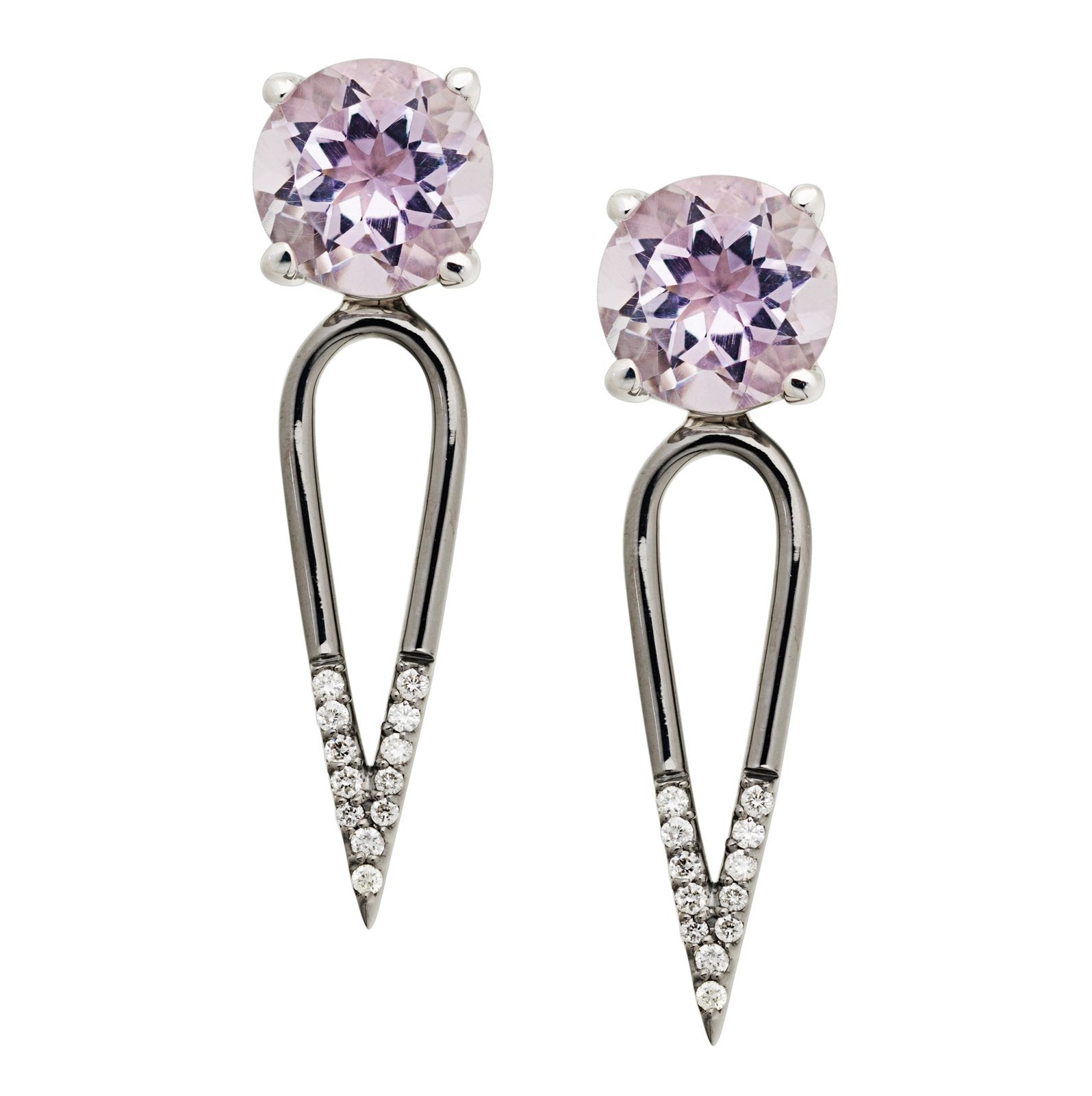 Irini Pink Amethyst gem stone diamond dipped dagger, sterling silver earrings are edgy yet elegant and the perfect gift, made in nyc