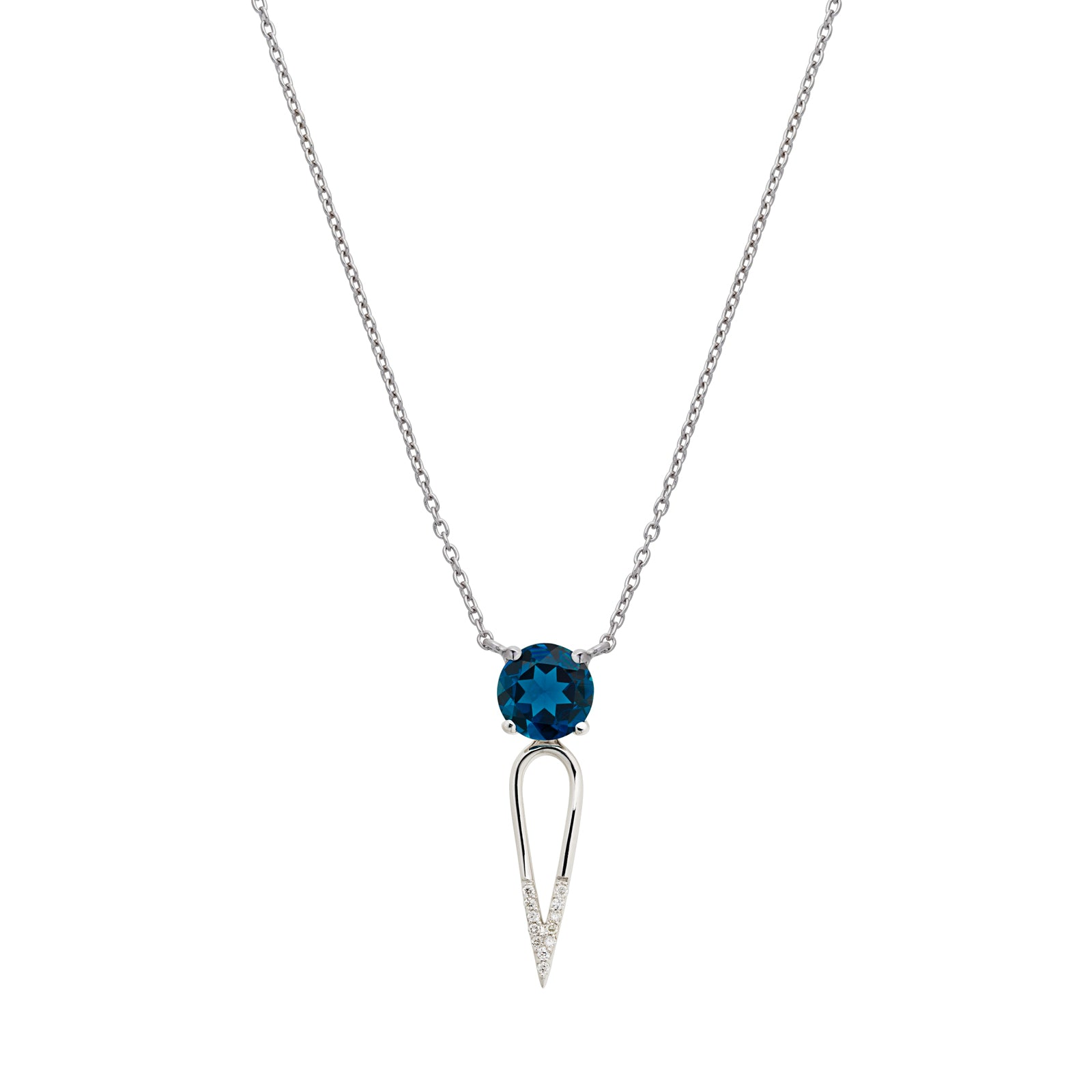 "London Blue Topaz Gem Stone, diamond dipped dagger, sterling silver necklace, edgy yet elegant 18"" chain, made in NYC"