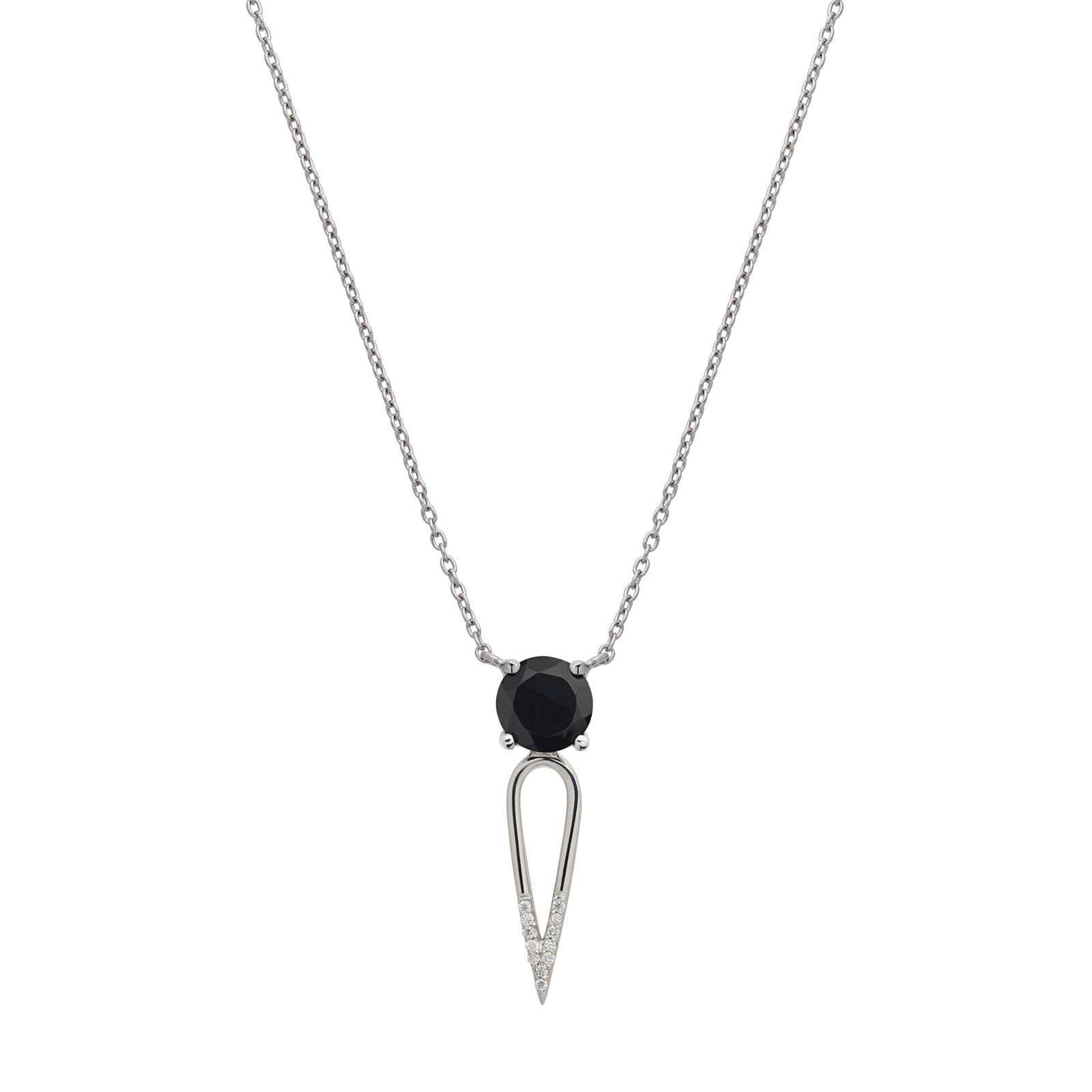 Irini Black Onyx gem stone diamond dipped dagger, sterling silver pendant, necklace, edgy yet elegant and the perfect gift, made in nyc