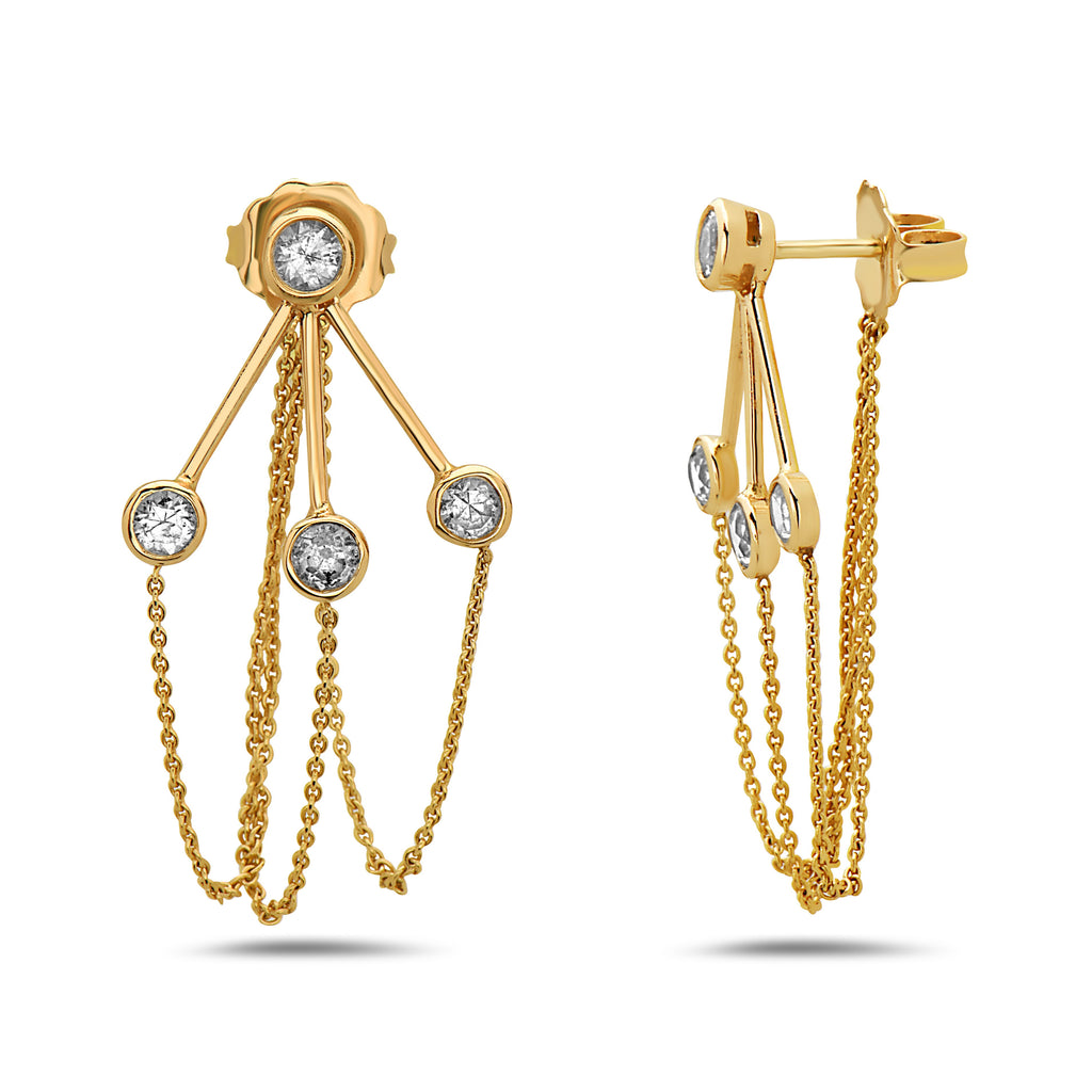 14K GOLD, MINI CHANDELIER EARRINGS, WHITE SAPPHIRE, DAY TO EVENING, BOLD AND ELEGANT, MADE IN NYC,