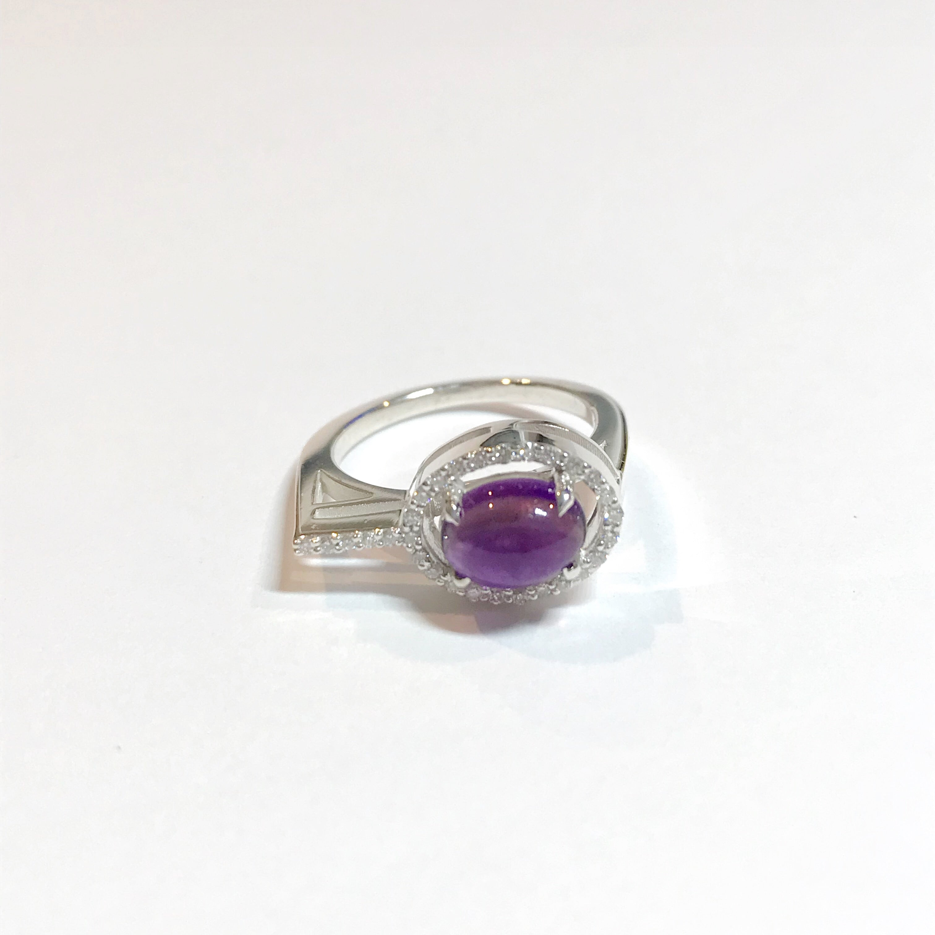 Irini gem drop white diamond and cabachon ring set, made in nyc, citrine and amethyst stones