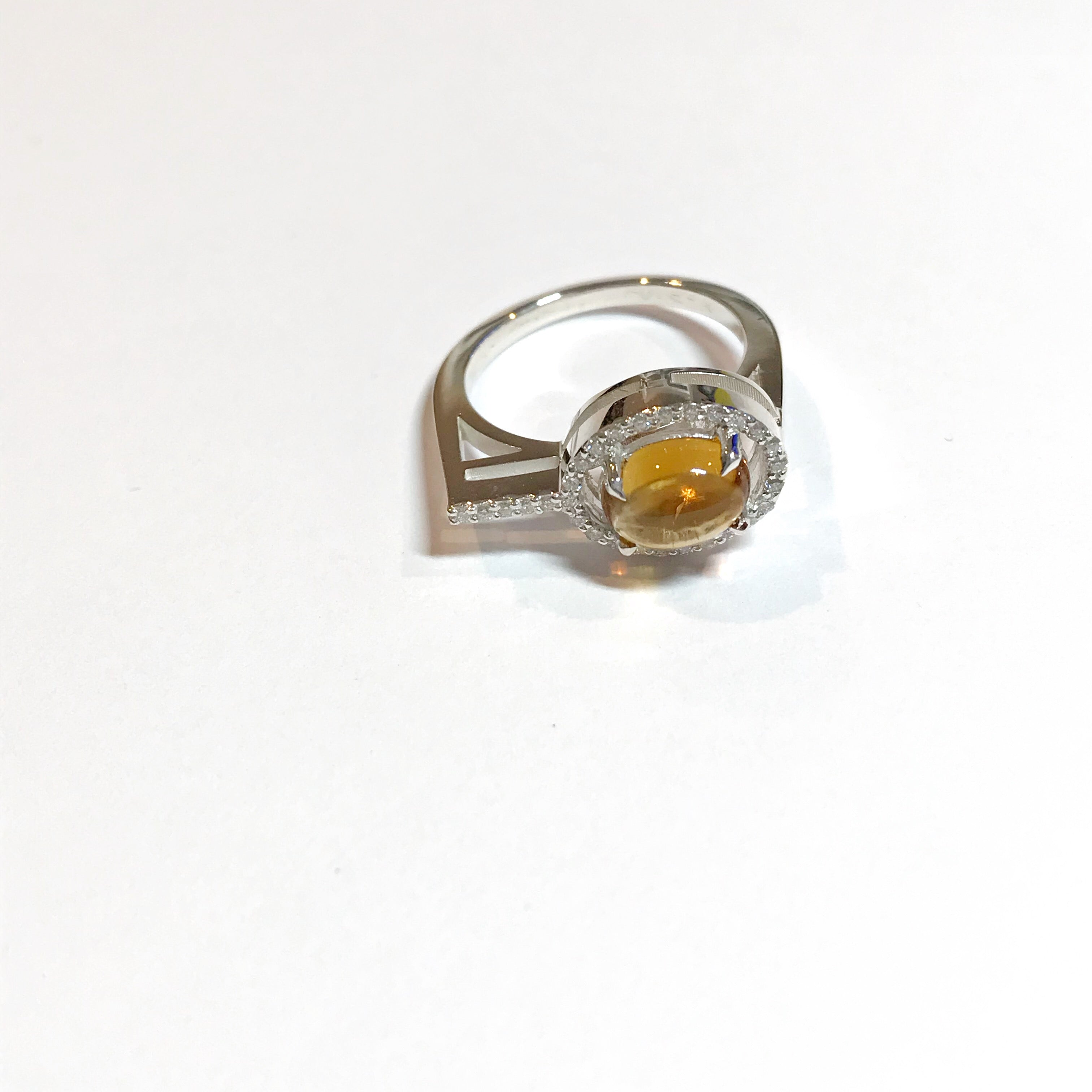 Irini gem drop white diamond and cabachon ring , made in nyc, citrine  stones