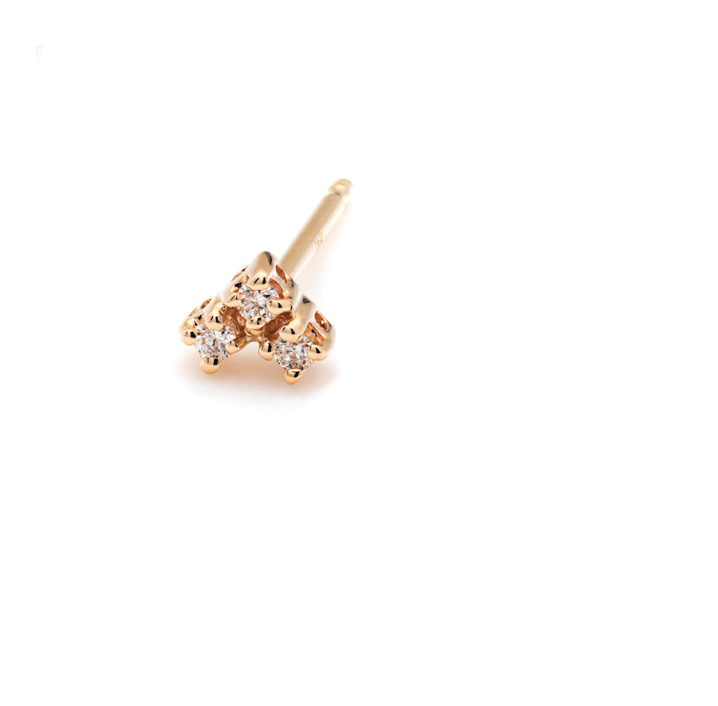 Mini white diamond trio stud earrings, post back,14k gold, ideal for multi piercing or update to the classic stud. made in nyc