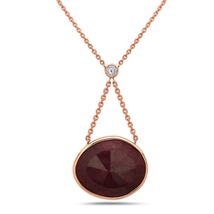 "14K gold, love ruby slice , expression necklace, keeps love flowing and keeps it close to your heart, 18"" gold chain with white diamond, available in custom stones"