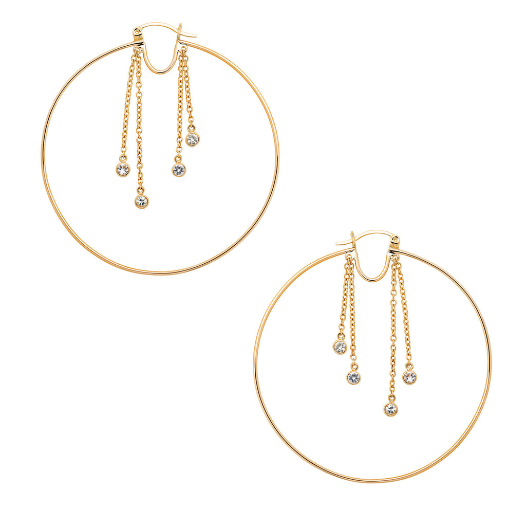 Irini 14k gold large hoop with chain details, bezel hugged white sapphires, the update to class hoop earrings, made in NYC a must have