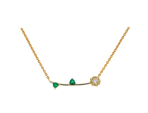 Irini Full bloom necklace, yellow sapphire petals with white diamond center adorned with Emerald leaves, a future heirloom , classic and elegant yet fun