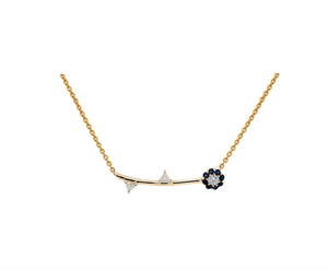 IRINI FULL BLOOM NECKLACE, BLUE SAPPHIRE PETALS WITH WHITE DIAMOND CENTER AND WHITE DIAMOND LEAVES, ELEGANT, CLASSIC, YOUR NEW HEIRLOOM