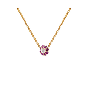 IRINI FULL BLOOM BUD NECKLACE, PINK SAPPHIRE PETALS DIAMOND CENTER FLOWER ON 14K YELLO GOLD CHAIN, YOUR NEW HEIRLOOM, ELEGANT AND CLASSIC