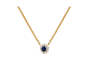 IRINI FULL BLOOM BUD NECKLACE, DIAMOND PETALS BLUE SAPPHIRE CENTER FLOWER ON 14K YELLO GOLD CHAIN, YOUR NEW HEIRLOOM, ELEGANT AND CLASSIC