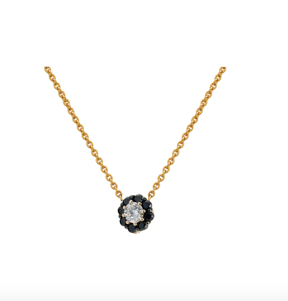 IRINI FULL BLOOM BUD NECKLACE, BLACK DIAMOND PETALS DIAMOND CENTER FLOWER ON 14K YELLO GOLD CHAIN, YOUR NEW HEIRLOOM, ELEGANT AND CLASSIC