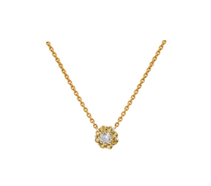 IRINI FULL BLOOM BUD NECKLACE,YELLOW SAPPHIRE PETALS DIAMOND CENTER FLOWER ON 14K YELLO GOLD CHAIN, YOUR NEW HEIRLOOM, ELEGANT AND CLASSIC