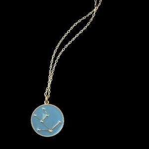 Irini zodiac enamel pendant, taurus, astro sign, sterling silver necklace with diamond