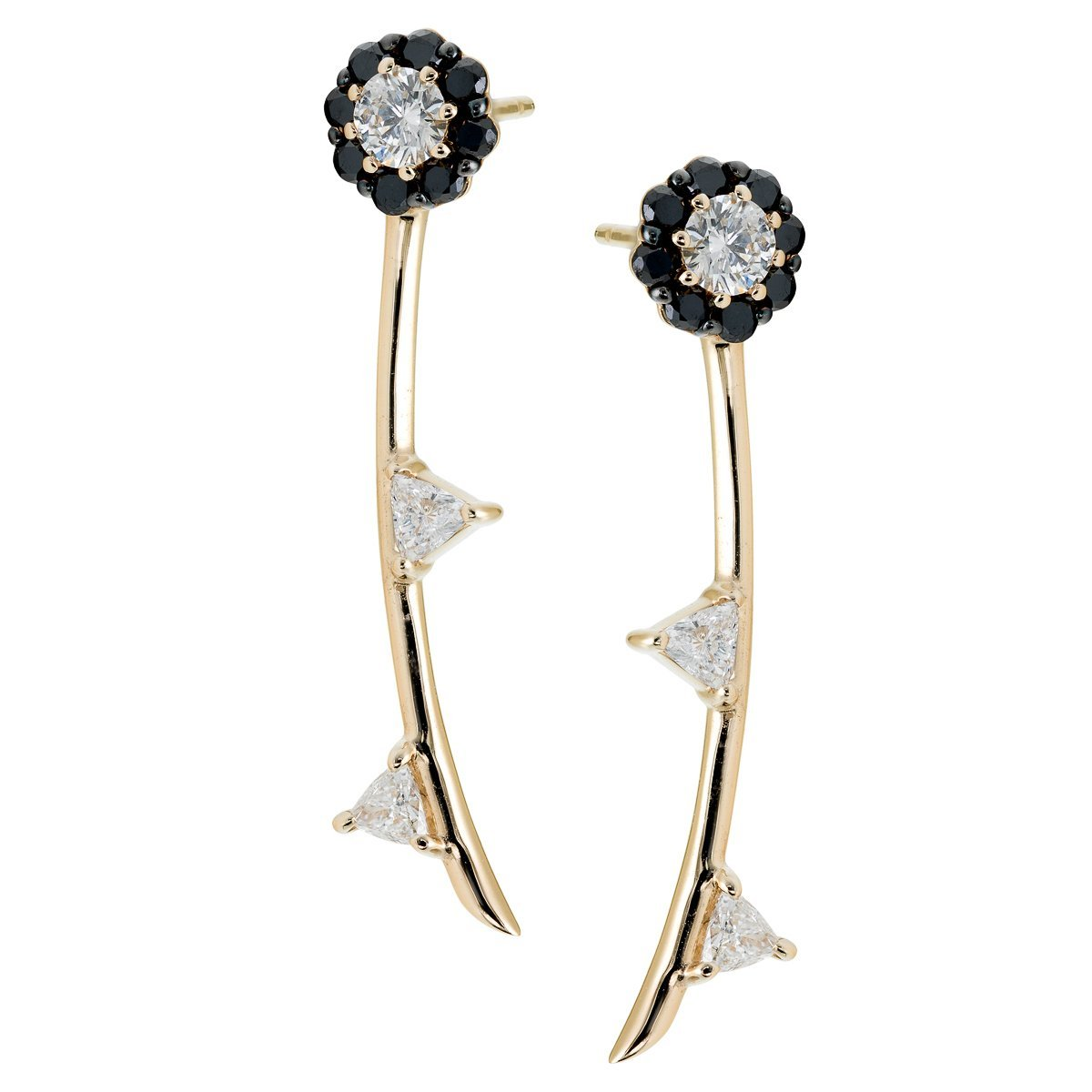 Irini Black Diamond Full Bloom Earrings with white diamond leaves in 14k gold, post back  can be work as a pair or as a single earring, a edgy design to a classic design, made in nyc
